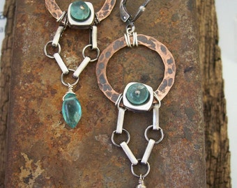 Hardware, Industrial Jewelry, Mixed Metal Earrings with apatite, Apatite Earrings, Dangle Earrings.