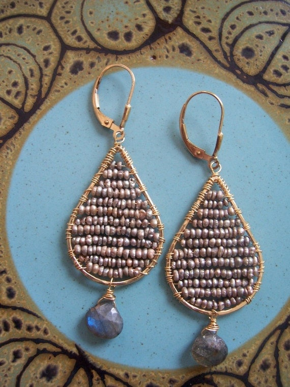 Woven Seed Pearl Earrings with Labradorite