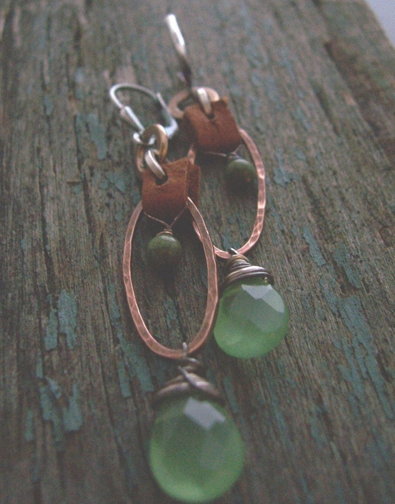 Rustic Green, Copper, Leather, and Quartz Earrings