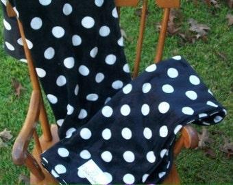 Black and White Polka Dot Minky Baby Blanket