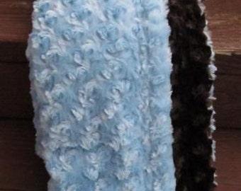 Chocolate and blue minky swirl baby blanket
