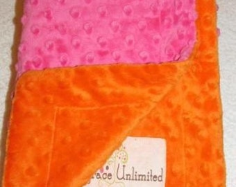 Hot pink and bright orange minky dot baby blanket