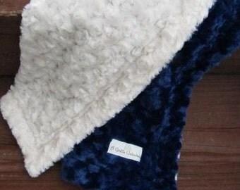 Navy and cream minky swirl baby blanket