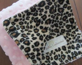 Light pink dot and cheetah minky lovey