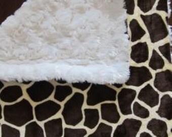 Giraffe and cream swirl minky lovey