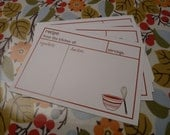 50 Blank Red Mixing Bowl Recipe Cards - Printed on 110 lb. index stock paper