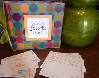 Recipe Shower Kit - Polka Dot Recipe Album - Customized with the happy couples name