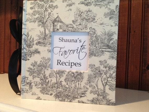 Toile Recipe Album - Comes with Favorite Recipes - Hand Wrapped Duck Cloth Album