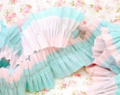 Reversible Vintage Style Pink and Aqua Double Crepe Paper Ruffles for Crafting, Scrapbooking, Gift Tags, Decorating and More ECS