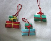 Set of three fabric package ornaments or ornament tie ons