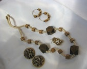 Vintage to now jewelry lot wood, tan, cream brown w/ necklace earrings