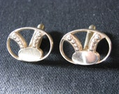 Gold tone vintage oval cufflinks cuff links  Unusual open design