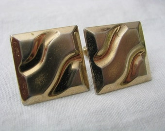 Anson gold tone vintage cuff links cufflinks square with wavy retro design