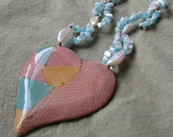 Aqua blue white pink vintage beaded necklace with patchwork heart