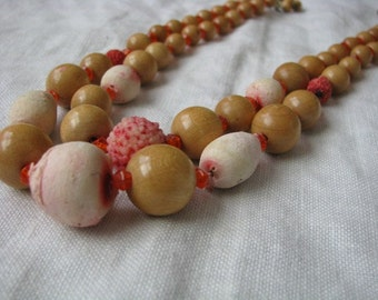 Necklace double strand sugar bead orange tan necklace marked Western Germany