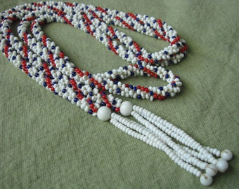 Red white blue beaded twisted necklace or belt
