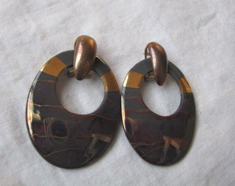 Oval earrings with copper colors and sunset hues, VIntage earrings
