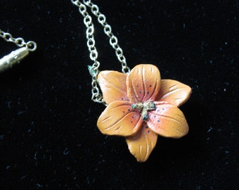 Orange leather flower pendant on delicate 15 inch chain, Vintage necklace