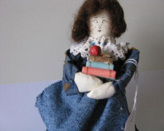 One of a kind My Teacher Hand made Cloth Doll OOAK