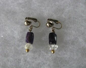 Purple & clear bead  dangle clip back clip on earrings.