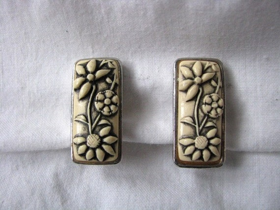 Rectangle ivory color flowery carved earrings with silver edging