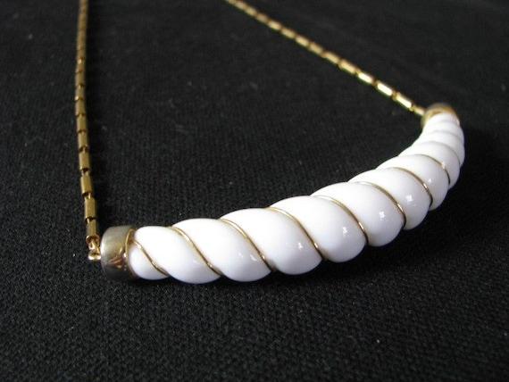 Monet white gold tone enamel swirl choker necklace