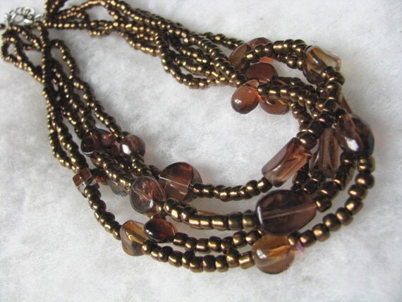 Multi strand vintage bead necklace in shades of coppery brown