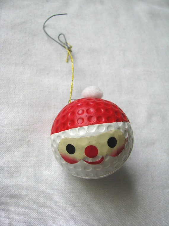 Vintage painted santa face golf ball holiday ornament