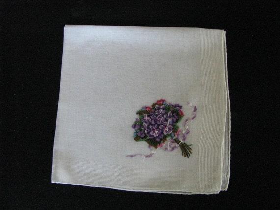 Vintage Delicate white handkerchief with embroidered purple flower bouquet. Vintage hanky.  Vintage hankie
