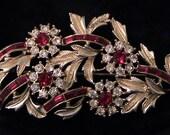 Vintage CORO Red and Crystal Rhinestone Flower Brooch