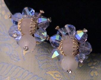 Vintage VENDOME Light Blue AB Crystal & White Cluster Earrings