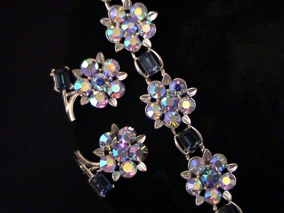 Vintage LISNER Blue AB Rhinestone Necklace, Earrings Demi