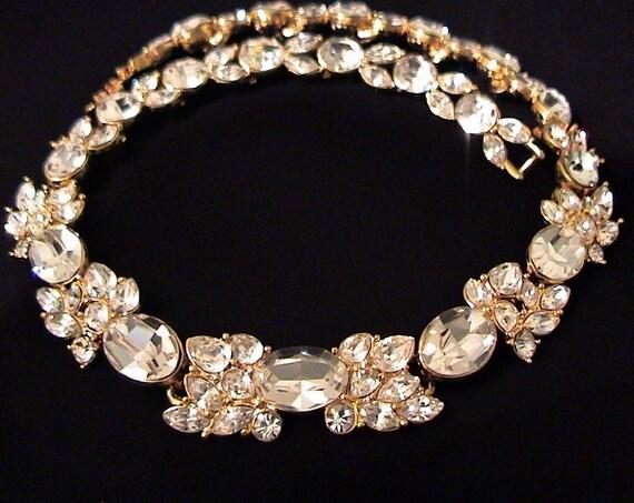 Spectacular Vintage MONET Large Crystal Rhinestone Necklace