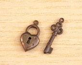 Vintaj Brass Lock and Key Charm Set SALE