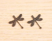 Vintaj Brass Small Dragonfly Charms Set of Two SALE