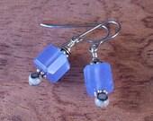 Dusk Blue Quartz Faceted Cube Earrings - Hypoallergenic Stainless Steel Ear hooks