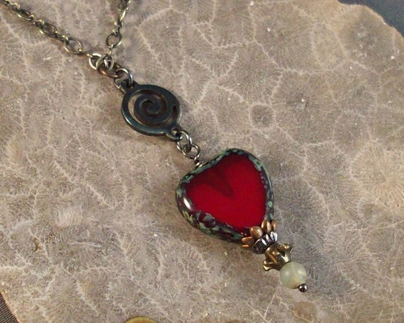 Spiral Heart Necklace in True Red - Other Custom Colors Available