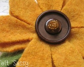 Brooch - Recycled Wool Sweater - Mustard Flower - by FeltSassy