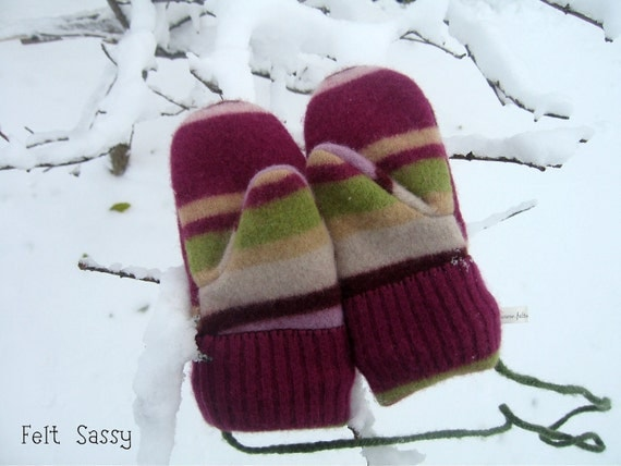SALE Chidren's Felted Mittens - Purple Stripe - Fully Lined - Recycled Wool Sweater - by Felt Sassy