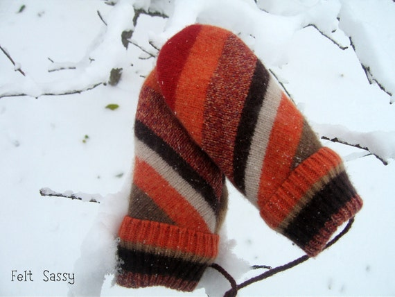 SALE Chidren's Felted Mittens - Autumn Stripe - Fully Lined - Recycled Wool Sweater - by Felt Sassy