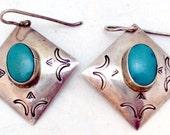 Southwestern Sterling Silver Turquoise Earrings