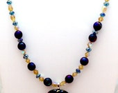 Gold Green Blue Dichrois Pendant Bead Necklace
