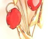 Sterling Red Rhinestone Pin from the 50's