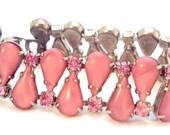 Rose Pink Givre Rhinestone Vintage Bracelet