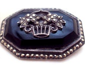 RESERVED Black Onyx, Sterling Silver Marcasite Collar Pin Brooch