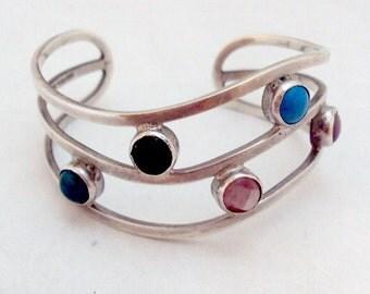 Sterling Silver Semi Precious Cuff Bracelet - Taxco