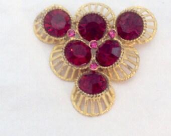 Bright Red Rhinestone Vintage Pin Brooch