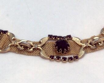 Vintage Mesh Red Rhinestone Bracelet