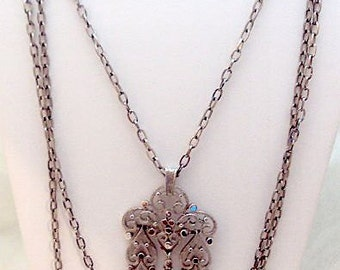 Long Vintage Dangling Trifari Pendant - Triple Chain