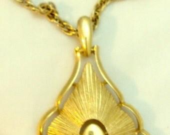 Double Chain Sunburst Necklace Pendant - Trifari